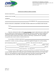 "Form DMM-103 ""Notice of Application to Mine"" - Virginia"