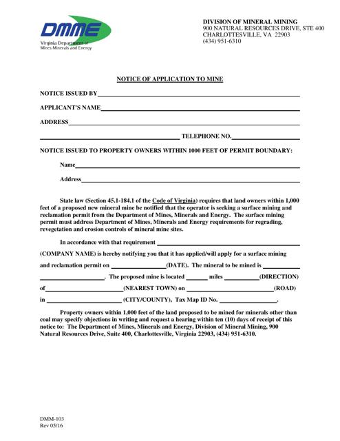 Form DMM-103  Printable Pdf