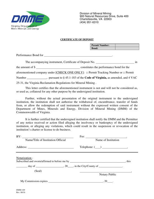 Form DMM-169  Printable Pdf