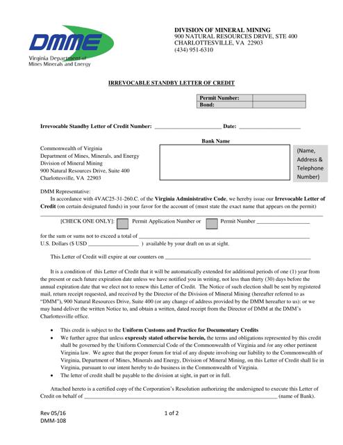 Form DMM-108  Printable Pdf