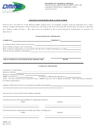 "Form DMM-166 ""Contractor Identification Form"" - Virginia"