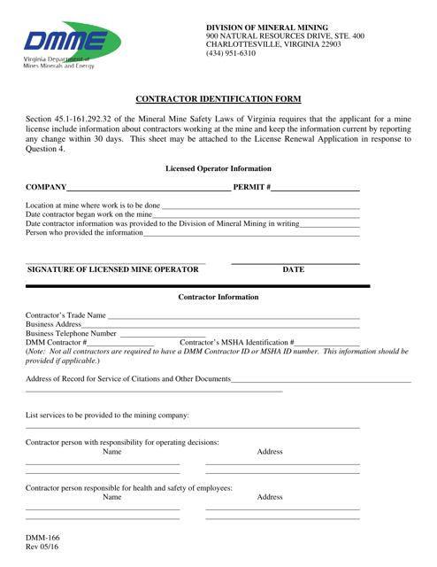 Form DMM-166  Printable Pdf