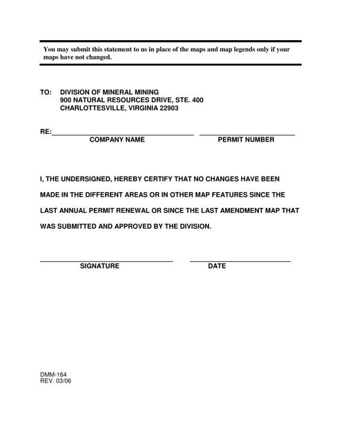 Form DMM-164  Printable Pdf