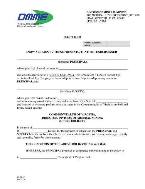 Form DMM-107  Printable Pdf