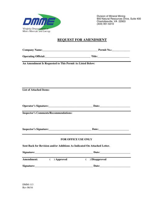 Form DMM-113  Printable Pdf