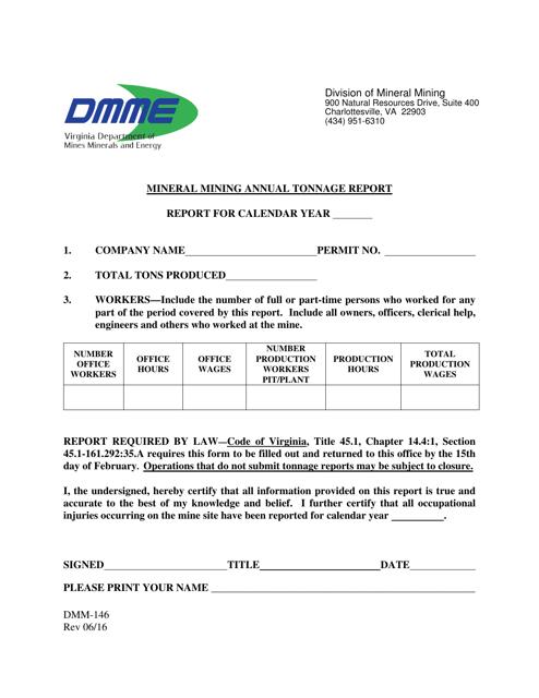 Form DMM-146  Printable Pdf