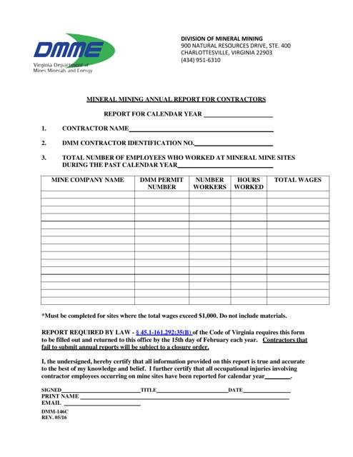 Form DMM-146C  Printable Pdf