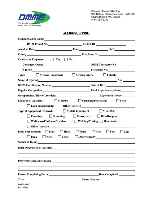 Form DMM-104C  Printable Pdf