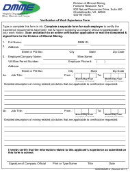 """Form Dmm-Bmme-2 """"Verification of Work Experience Form"""" - Virginia"""