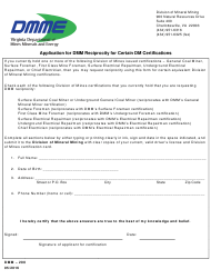 "Form DMM-200 ""Application for Dmm Reciprocity for Certain Dm Certifications"" - Virginia"