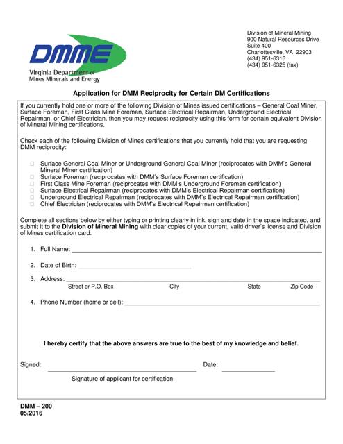 Form DMM-200  Printable Pdf