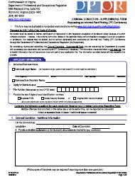"Form A713-01IFF ""Criminal Conviction - Supplemental Form"" - Virginia"