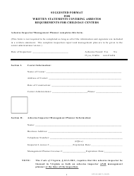 """Form 032-05-085/2 """"Suggested Format for Written Statements Covering Asbestos Requirements for Child Day Centers"""" - Virginia"""