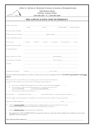 """Albert G. Horton, Jr. Memorial Veterans Cemetery Pre-application for Interment"" - Virginia"
