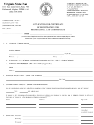 """""""Application for Certificate of Registration for Professional Law Corporation"""" - Virginia"""