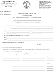 """""""Application for Certificate of Registration for Foreign Professional Law Corporation"""" - Virginia"""