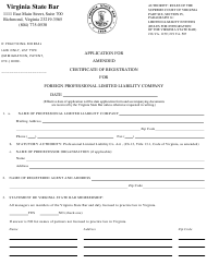 """""""Application for Amended Certificate of Registration for Foreign Professional Limited Liability Company"""" - Virginia"""