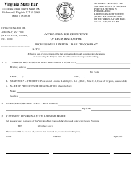 """""""Application for Certificate of Registration for Professional Limited Liability Company"""" - Virginia"""