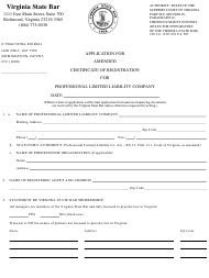"""""""Application for Amended Certificate of Registration for Professional Limited Liability Company"""" - Virginia"""