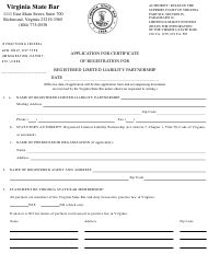 """""""Application for Certificate of Registration for Registered Limited Liability Partnership"""" - Virginia"""
