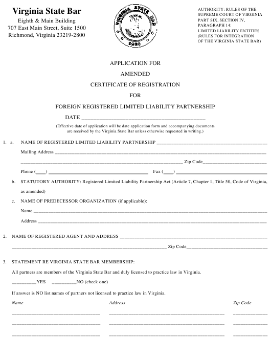 """""""Application for Amended Certificate of Registration for Foreign Registered Limited Liability Partnership"""" - Virginia Download Pdf"""