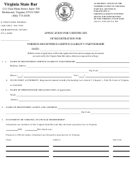 """""""Application for Certificate of Registration for Foreign Registered Limited Liability Partnership"""" - Virginia"""
