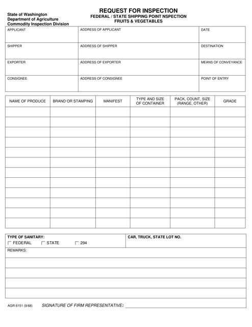 AGR Form 6151  Printable Pdf
