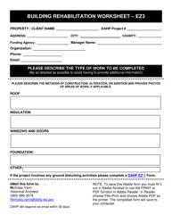 """Form EZ-3 """"Building Rehabilitation Worksheet"""" - Washington"""