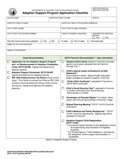 DCYF Form 10-477 Download Fillable PDF, Adoption Support Program