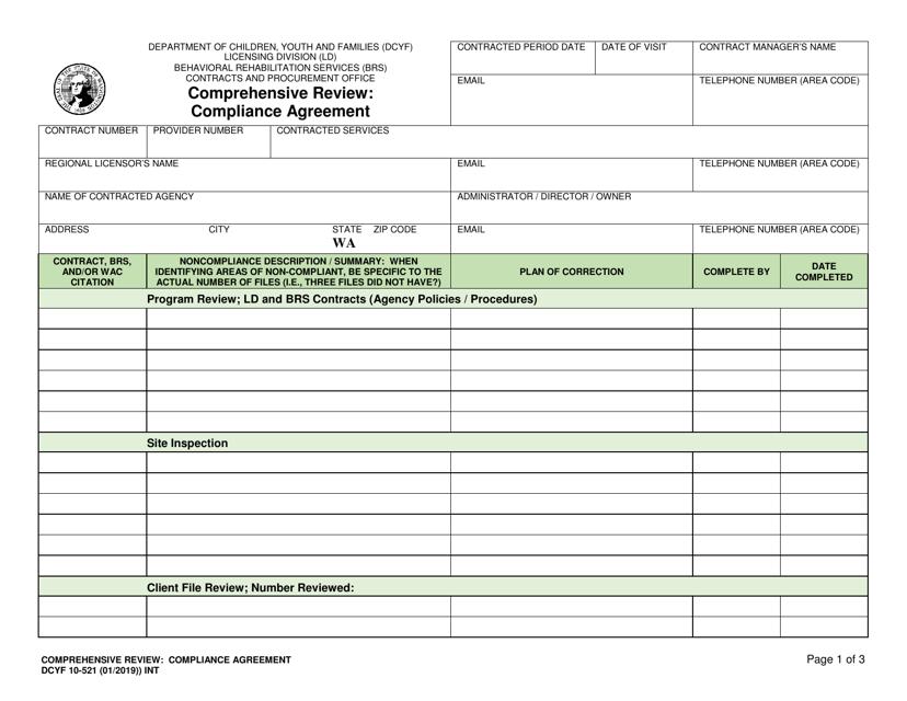 DCYF Form 10-521 Fillable Pdf