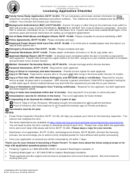 DCYF Form 10-578 Licensing Application Checklist - Washington