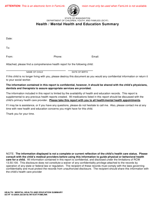 DCYF Form 15-209A  Printable Pdf