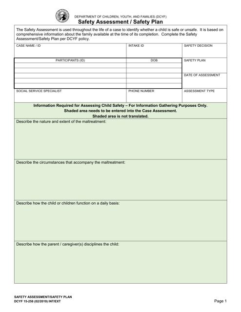 DCYF Form 15-258  Printable Pdf