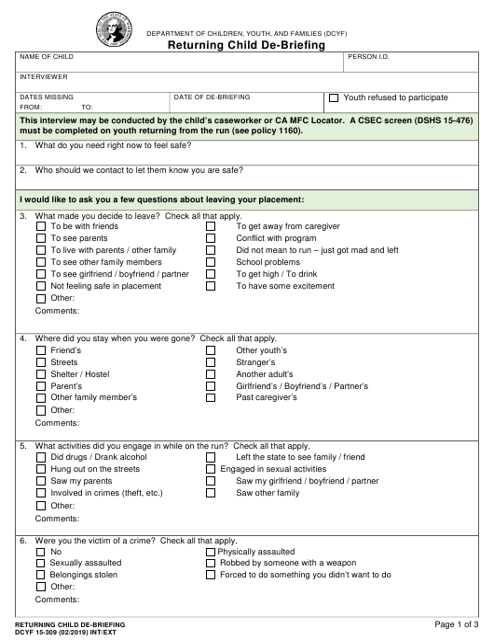 DCYF Form 15-309 Download Fillable PDF, Returning Child De