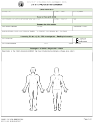 DCYF Form 15-359 Child's Physical Description - Washington