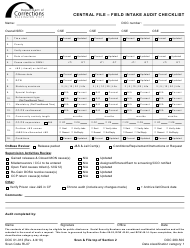 "Form DOC01-013 ""Central File - Field Intake Audit Checklist"" - Washington"