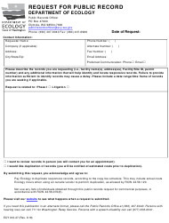 Form ECY 010-37 Request for Public Record - Washington
