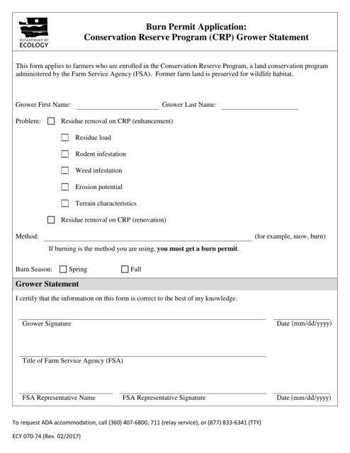 Form ECY070-74  Printable Pdf