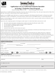 "Form ECY020-91 ""Application to Be an Authorized Emission Specialist in Ecology's Emission Check Program"" - Washington"