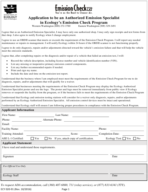 Form ECY020-91  Printable Pdf