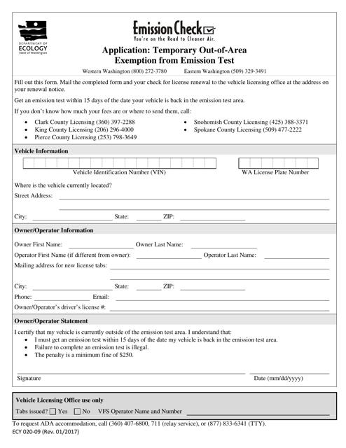 Form ECY020-09  Printable Pdf