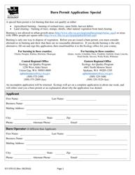 """Form ECY070-52 """"Burn Permit Application: Special"""" - Washington"""