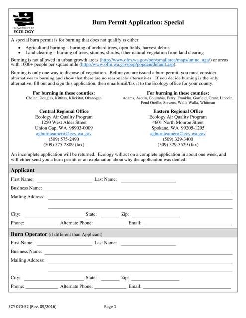 Form ECY070-52  Printable Pdf