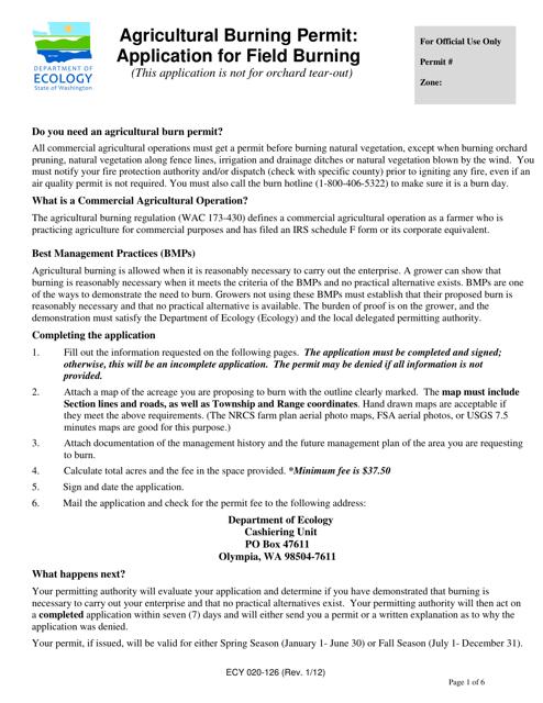 Form ECY020-126  Printable Pdf