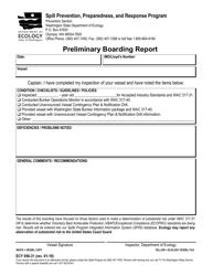 "Form ECY050-31 ""Preliminary Boarding Report"" - Washington"