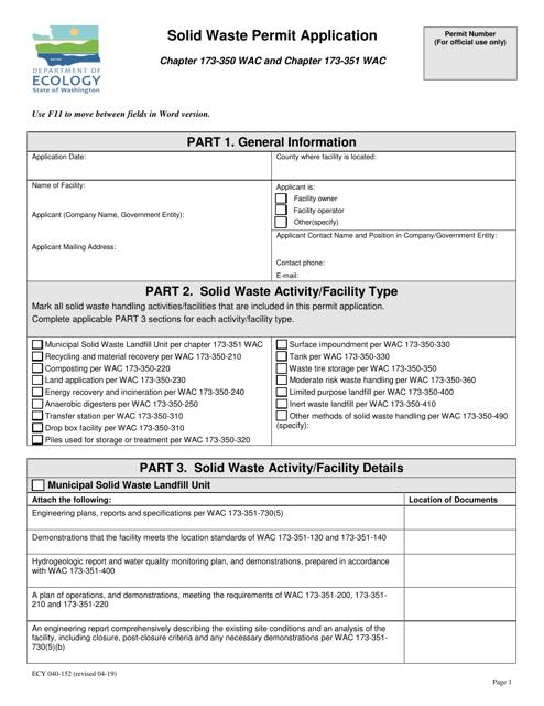 Form ECY040-152  Printable Pdf