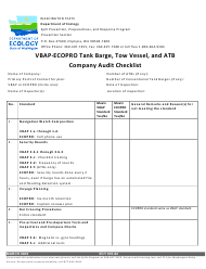 """Form ECY070-62 """"Vbap-Ecopro Tank Barge, Tow Vessel, and Atb Company Audit Checklist"""" - Washington"""