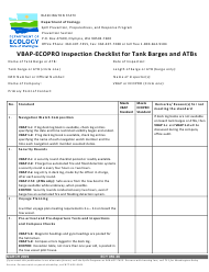 """Form ECY050-36 """"Vbap-Ecopro Inspection Checklist for Tank Barges and Atbs"""" - Washington"""