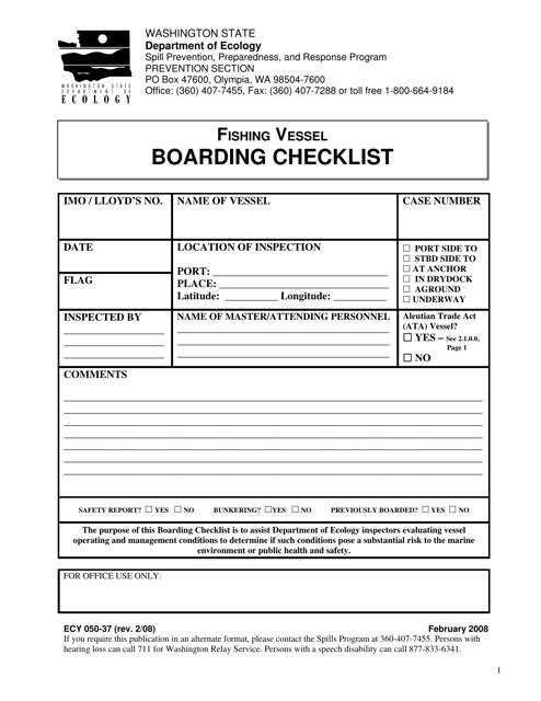 Form ECY 050-37 Download Printable PDF, Fishing Vessel