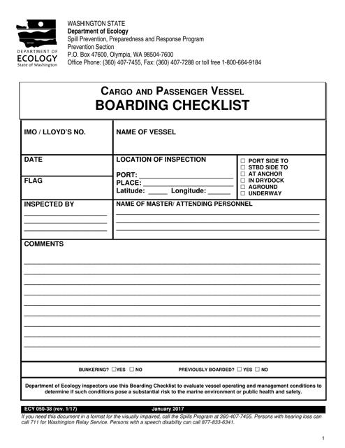 Form ECY050-38  Printable Pdf